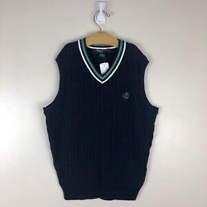 NWT Youth Boys Brooks Brothers Sweater Vest Size M Navy V Neck