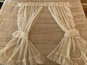 Pair of SWEET Vintage White Sheer Priscilla Curtains 60x42