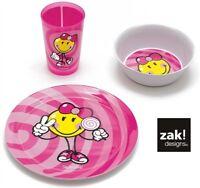 Zak! Kids 3 Piece Dinner/Breakfast Set Blue & Pink Kitchen Dining Childrens Gift