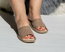 Womens Ladies Slippers Sandals Home Shoes Natural Leather Brown Kapcie ALL SIZES