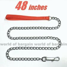 "48"" inch DOG LEASH Lead CHAIN 3mm Metal Link Small - Medium Dogs +Nylon Strap P2"