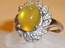 gelber Opal Topas Silber massiv Ring  vergoldet