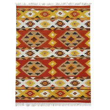 100% Wool Kilim 120x180cm Quality Hand Made Red Yellow reversible rug