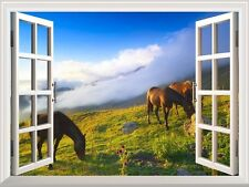 "Wall Mural - Horses Grazing on the Mountain Meadow - 24""x32"""