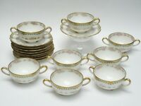 8x ANTIQUE THEODORE HAVILAND LIMOGES GILDED FLORAL PAINTED BOUILLON CUP & SAUCER