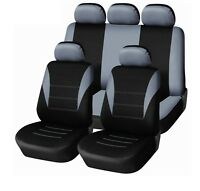 FULL GREY CAR SEAT COVER SET FIT FOR NISSAN JUKE PRIMERA ALMERA PIPING LOW BACK