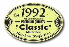 Retro Distressed Aged To Perfection Classic Oval 1992 Vintage Car sticker decal