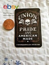 Union Pride 100% American Made Organized Labor Hard Hat Sticker Decal Skull Wing