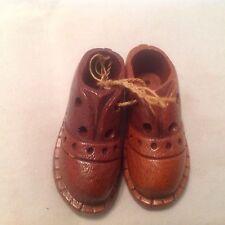 Vintage Mini Wooden Men's Dress Shoes Decorative