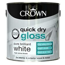 Crown 2.5L Brilliant White Quick Dry Gloss Paint Interior Exterior Wood Metal