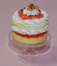 Dollhouse Miniature Strawberry Cake Glass Stand Falcon Minis 1:12 Scale