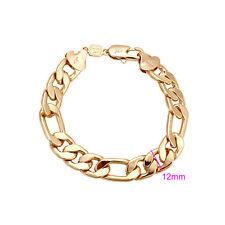 "9ct 9K Yellow ""Gold Filled"" Men Ladies FIGARO  chain Bangle Bracelet. L= 8.5"""
