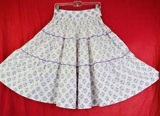 Cute Novelty Print Purple Roses Circle Skirt 50s Vintage