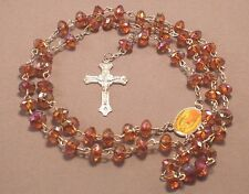 Rosary Necklace Faceted Rondelle AB Bead Medal Center Silver BROWN GUADALUPE !!