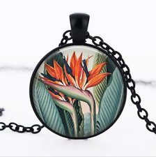 Vintage Bird of Paradise Black Glass Cabochon Necklace chain Pendant Wholesale