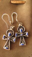 Ankh cross 925 marked silver with Lapis inlay dangle earring set - NEVER WORN