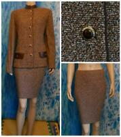 ST. JOHN Collection Knits Brown Cream Jacket Skirt L 10 12 2pc Suit Leather Trim
