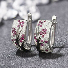 2019 Newly 925 Silver Red Ruby Flower Plum Blossom Ear Hoop Earring Jewelry Gift