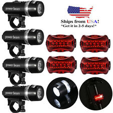 4 Pack 5 LED Lamp Bike Bicycle Front Head Light + Rear Safety Flashlight Outdoor