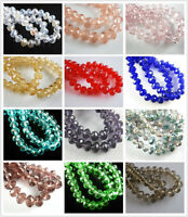 100Pcs 6x4mm Crystal Faceted Rondelle Glass Beads Loose Spacer Bead DIY Findings