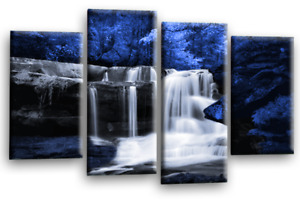 """Landscape Waterfall Wall Art Picture Teal Grey White Tree Canvas Split Panel 44"""""""