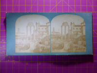 Antique Stereoscope Photograph, Temple of Castor & Pollux, Forum Rome Stereoview