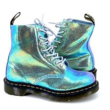 Doc Martens Womens Pascal Reptile Texture Iridescent Blue Green Boots US 6