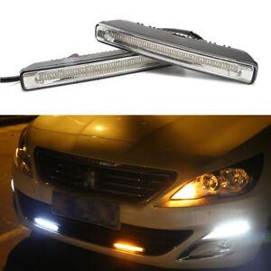 """2x 7"""" LED Daytime Turn Signal Light Car Fog Driving Lamp White+Amber+Blue Flush"""