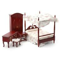 Dolls House Mahogany Victorian Bedroom Furniture Set with Canopy 4 Poster Bed
