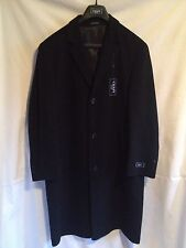 Chaps Men's Size 44 Regular Black Solid Long Dress Coat 80% Wool 20% Nylon NEW
