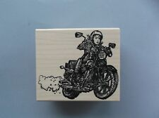 100 PROOF PRESS RUBBER STAMPS MOTORCYCLE WOMAN NEW wood STAMP