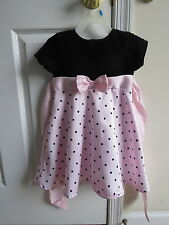 3t pink black polka dot girls dress rear bow short sleeve Easter Valentines