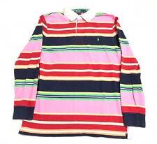 Polo Ralph Lauren, Men's Medium L/S Quilted Shoulder Rugby Shirt, Multi Color
