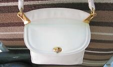 Zenith Hand Made White Shoulder Bag Brass Hardware Turn Lock Snap Strap VTG