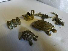 Vintage Brass Tortoise Trinket Monkeys Lizard Frog Etc Job Lot