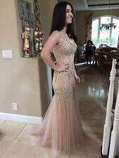 $418 NWT CHAMPAGNE TERANI COUTURE PROM/PAGEANT/FORMAL DRESS/GOWN #1611P0216 SZ 0