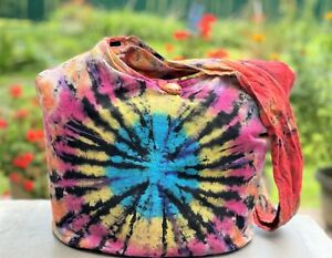 Large Tie Dye Crossbody Bag Hippie Hobo Sling Cotton Rainbow Shoulder Purse