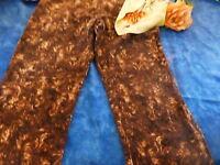 T 42-44 pantalon marron nuancé +foulard soyeux offert  assorti !!!