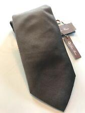 195$ Loro Piana Solid Khaki 100% Silk Tie Made in Italy