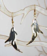 Black & White Genuine Cloisonne Enamel Orca Whale Pierced Earrings vintage 1970s
