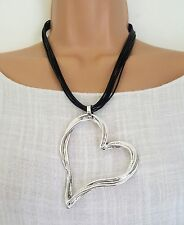 New Lagenlook Silver Colour Big Heart Statement Necklace uk seller