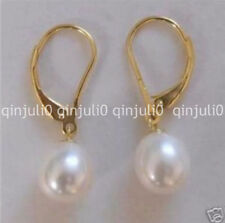PERFECT ROUND WHITE 9-10MM SOUTH SEA PEARL DANGLE EARRING 14K YELLOW GOLD JE139