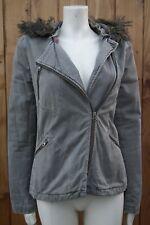 French Connection FCUK Women's Khaki Hooded Khaki Biker Coat Jacket Size UK 8