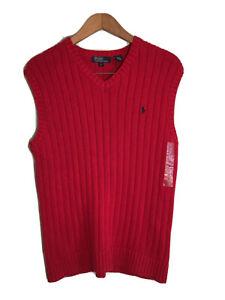 Polo By Ralph Lauren Boys V Neck Sleeveless Sweater Vest Sz L Red