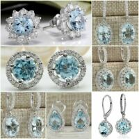 Large Women Jewelry 925 Silver Aquamarine Gemstone Wedding Earring Ear Stud