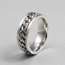 Unisex 316L Eternity Titanium Stainless Steel Men Chain Ring For Women and Men