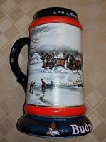 Budweiser Mug Collectible 1990 Famous Clydesdales Ceramarte Horse Hitch Wagon