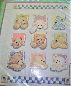 """Dimensions BEARS FOR BABY Quilt Stamped Cross Stitch Kit 34""""X 43"""" # 72875"""