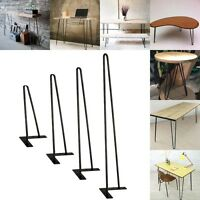 "Coffee Metal Table Hairpin Legs 16""- 28"" Set of 4 3/8"" Solid Iron Bar W/ Screw"
