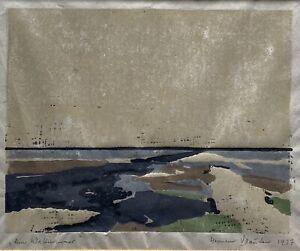 Hermann Sauter (1891-1981) Farbholzschnitt am Wattenmeer Nordsee 1937